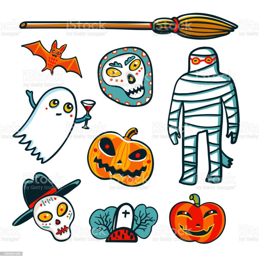 Ilustración De Elementos De Diseño De Halloween Dibujos Animados De