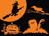 Four Halloween design elements - a witch riding her broom, a crow on a dead tree's branch, a haunted pumpkin and some undead creature rising from its tomb. Creepy stuff in vector format.