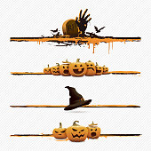 Vector illustration of some halloween page dividing elements.