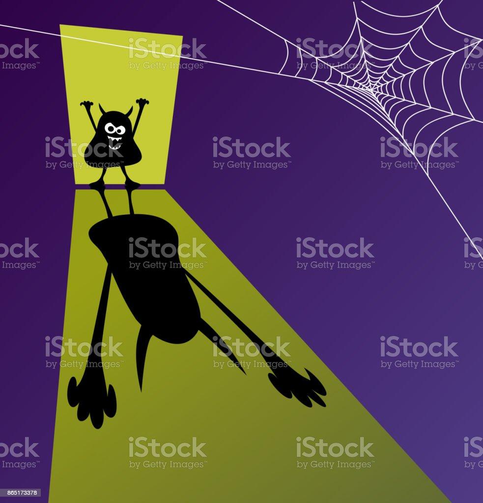 Halloween Design Template With Little Zombie Standing In Doorway ...