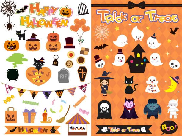 Halloween Design8 Halloween Design cat skeleton stock illustrations