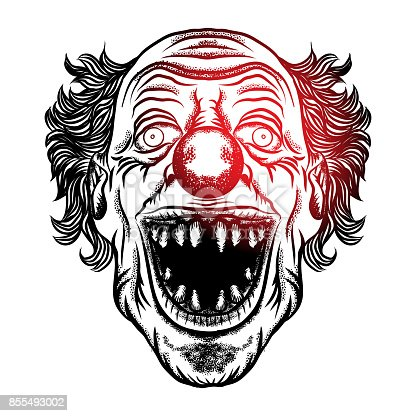 T te avant halloween diable effrayant de clown monstre de clown souriant avec grands yeux et le - Tete de monstre a dessiner ...