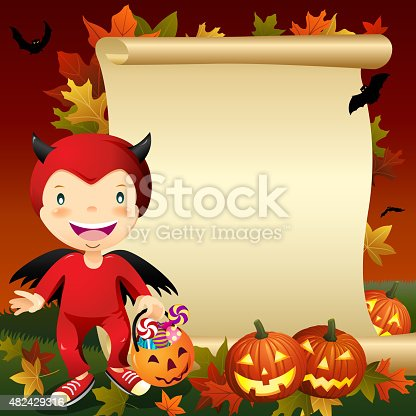 istock Halloween devil scroll 482429316