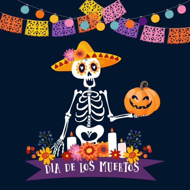 Halloween, Dia de Los Muertos-Grußkarte. Mexikanischen Tag der Toten Einladung. Skelett mit Sombrero-Hut hält freaky Kürbis. Blumen und Kerzen Dekoration. Scherenschnitt Partei Fahnen, Glühbirnen. – Vektorgrafik