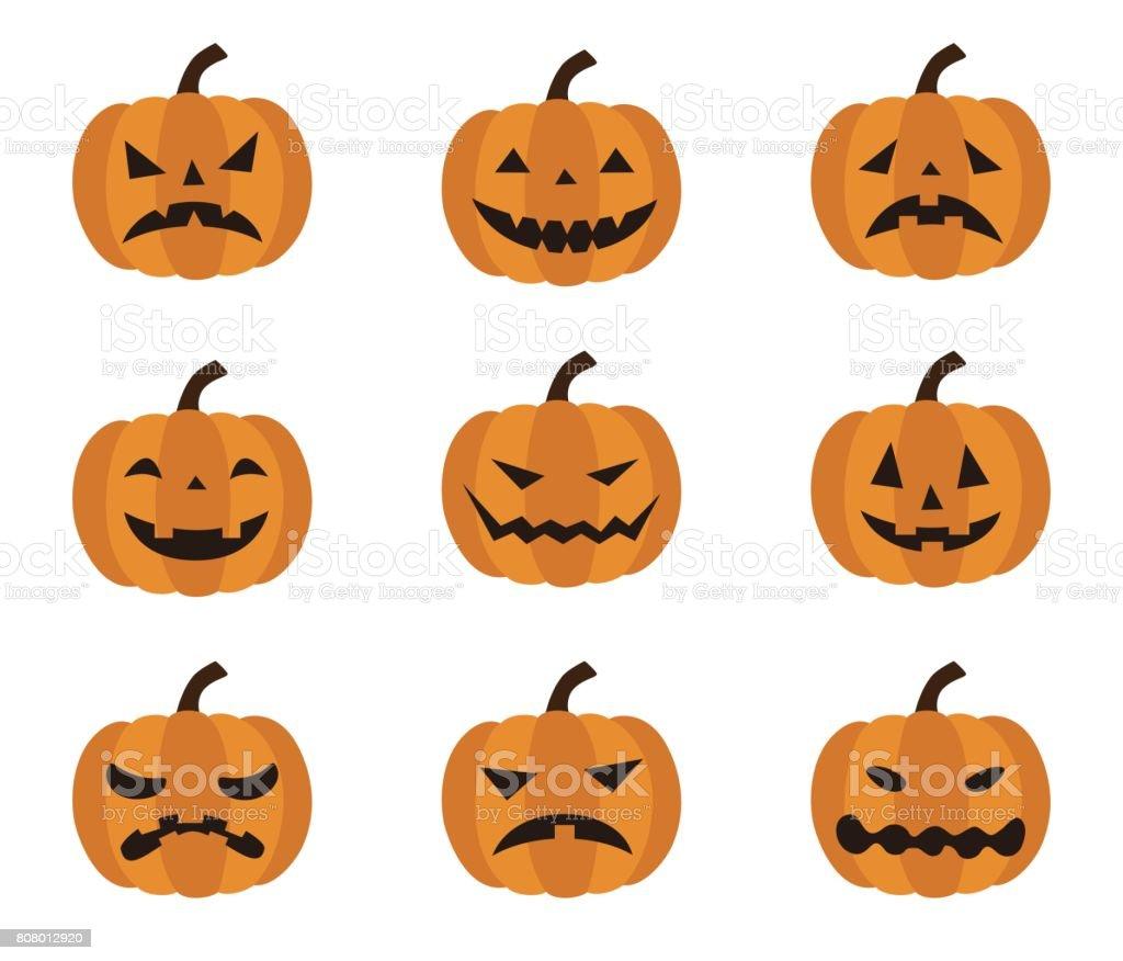 Halloween Verschiedene Gesichtsausdrücke Von Jack O Lantern