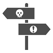 Halloween direction pointers solid icon, Halloween concept, wooden signposts sign on white background, signboard with skull and exclamation icon in glyph style for mobile. Vector graphics