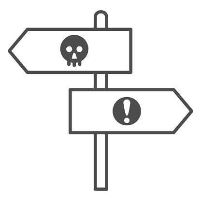 Halloween direction pointers thin line icon, Halloween concept, wooden signposts sign on white background, signboard with skull and exclamation icon in outline style for mobile. Vector graphics.