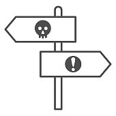 istock Halloween direction pointers thin line icon, Halloween concept, wooden signposts sign on white background, signboard with skull and exclamation icon in outline style for mobile. Vector graphics. 1279727560