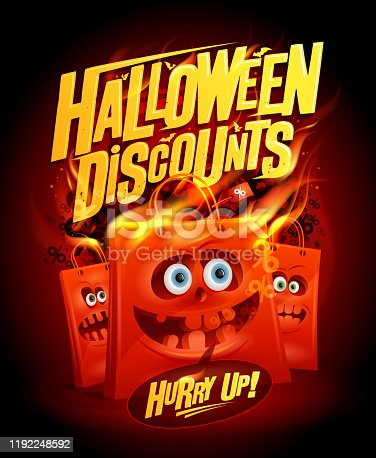 Halloween discounts sale banner design concept with paper bags