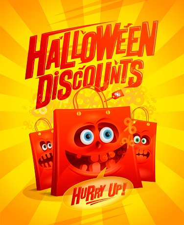 Halloween discounts sale vector banner template with red crazy paper bags