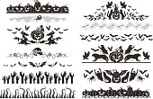 Halloween dividers collection. Horizontal borders with halloween objects and characters.