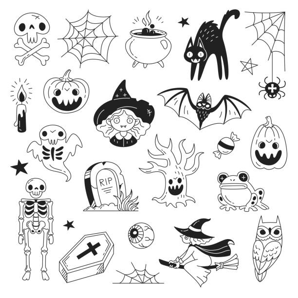 Halloween doodle collection. Vector illustration of funny black and white icons such as skeleton, grave, skull, pumpkin, owl, toad, cat, ghost and a witch isolated on white. halloween cat stock illustrations