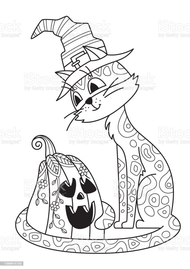 Halloween Doodle Coloring Book Page Cat Stock Illustration - Download Image  Now - IStock