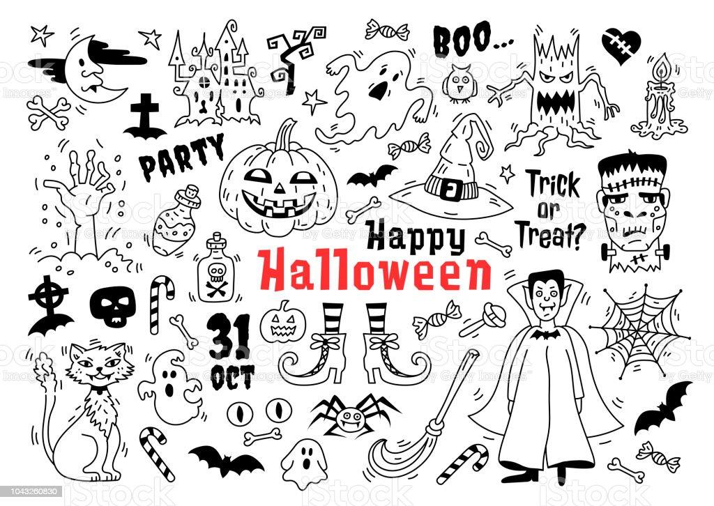 Halloween doodle Ikonuppsättning. Skiss av ikoner för att dekorera Halloween, ritningar Halloween symboler, vektorillustration vektorkonstillustration