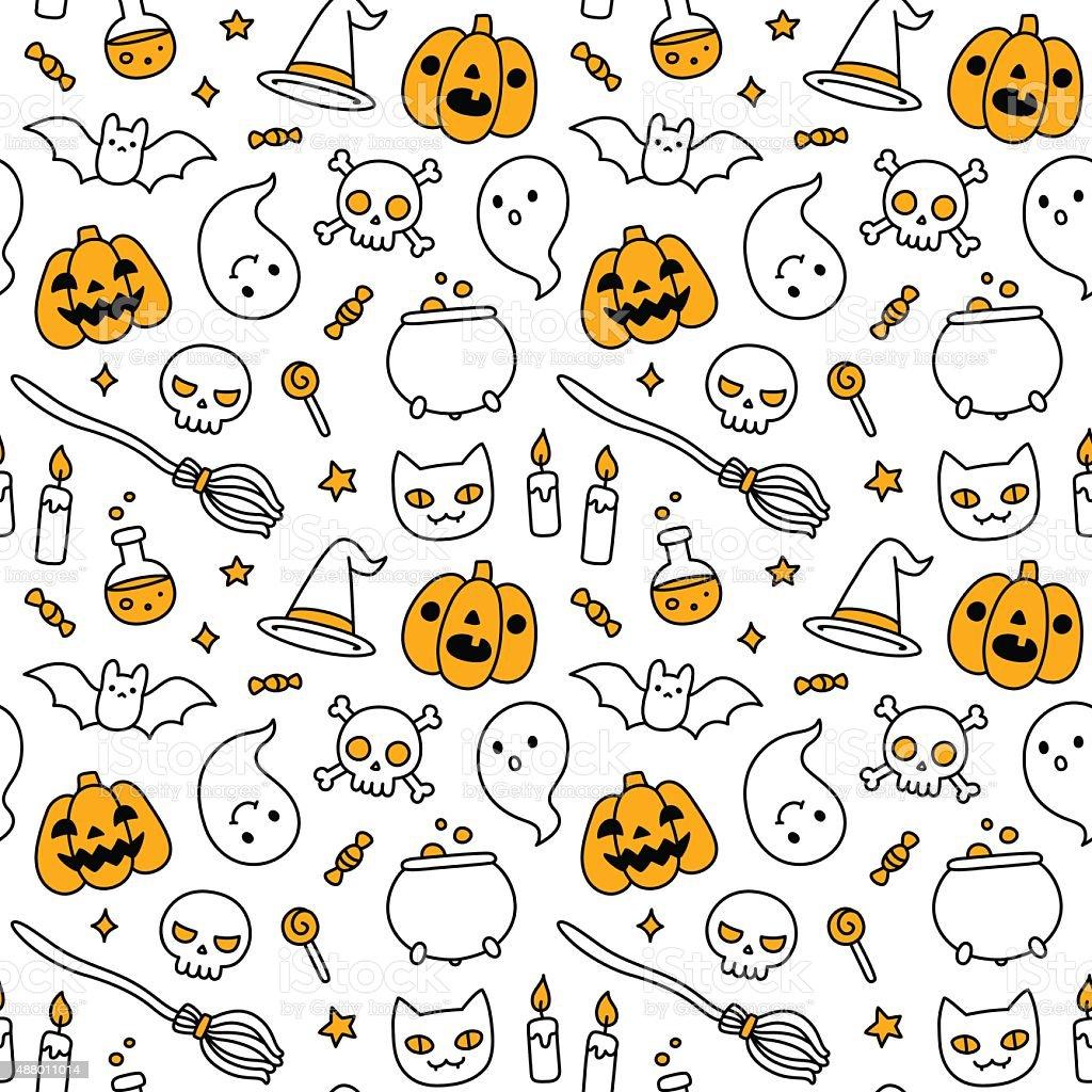 Patrón Sin Costuras De Halloween Garabato - Arte vectorial de stock ...