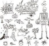 Halloween Doodle Set. Vector illustration.