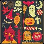 Halloween doodles in sketchbook,