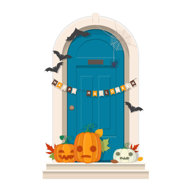 Halloween Door Decorations. Blue front door with Halloween decor Halloween Door Decorations. Front door with Halloween decorations and pumpkins. Vector illustration porch stock illustrations