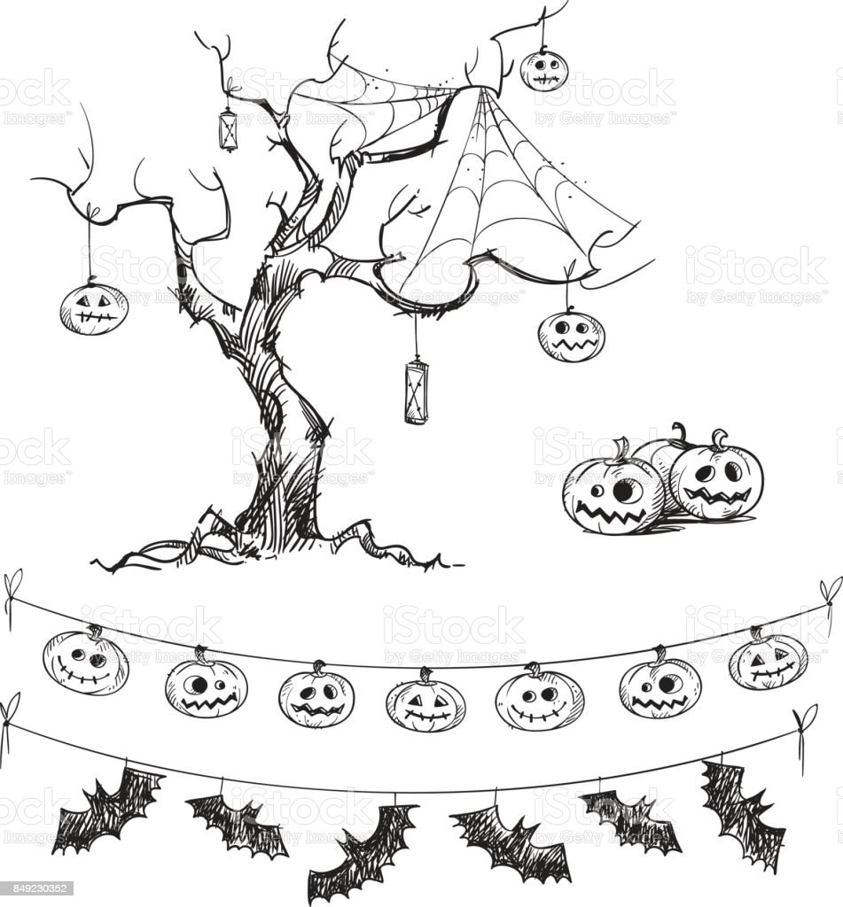 halloween drawings carved pumpkins lanterns flags royalty free halloween drawings carved pumpkins - Pictures Of Halloween Drawings
