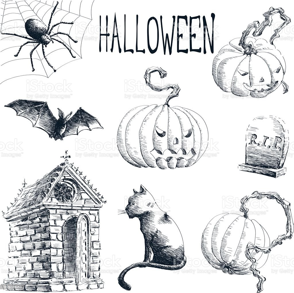 halloween drawings stock vector art & more images of bad news