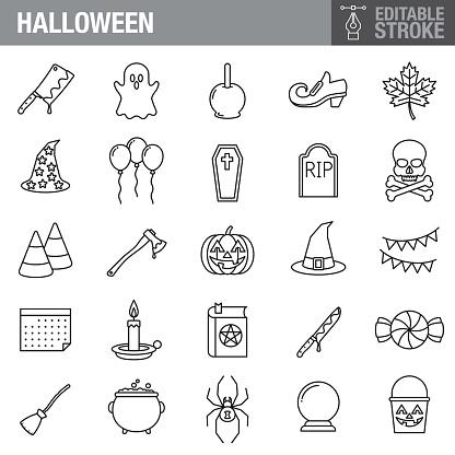 Halloween Editable Stroke Icon Set