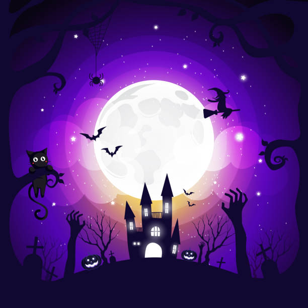 Halloween element design background with copy space, vector illustration vector art illustration