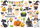 Halloween element set: witch, ghost, spooky castle, mummy, skeleton, funny pumpkins. Perfect for scrapbooking, greeting card, party invitation, poster, tag, sticker kit. Hand drawn vector illustration
