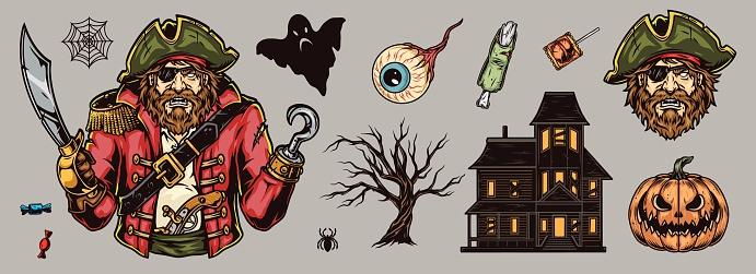 Halloween elements colorful vintage concept