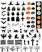Halloween Holiday Elements Set. Collection With Bat, Ghost, Grave, Tree, Moon, Pumpkin, Witch, Skeleton and Cat Over White Background for Creating Halloween Designs.  Vector illustration.