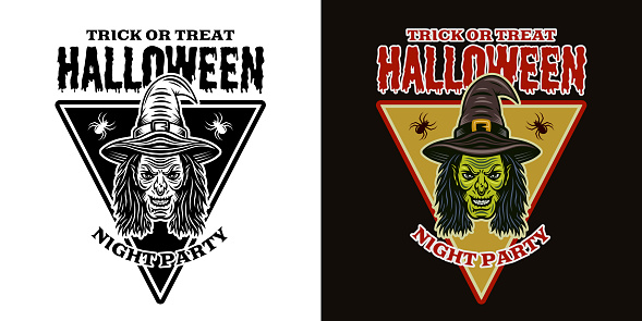 Halloween emblem with witch head two styles black on white and colorful on dark background vector illustration