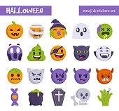 Halloween emoji set. Flat style vector illustration.