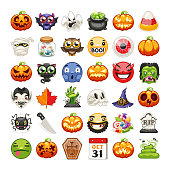 Halloween emojis set. Carved pumpkins, spooky ghost and other monsters. Horror zombie hand rising out of a grave. Isolated on white background. Clipping paths included.
