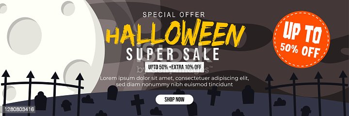 istock Halloween Event Super Sale Banner Discount Up To 50% Extra 10% With Big Moon and Grave Black White Theme Background Flat Design Illustration 1280803416