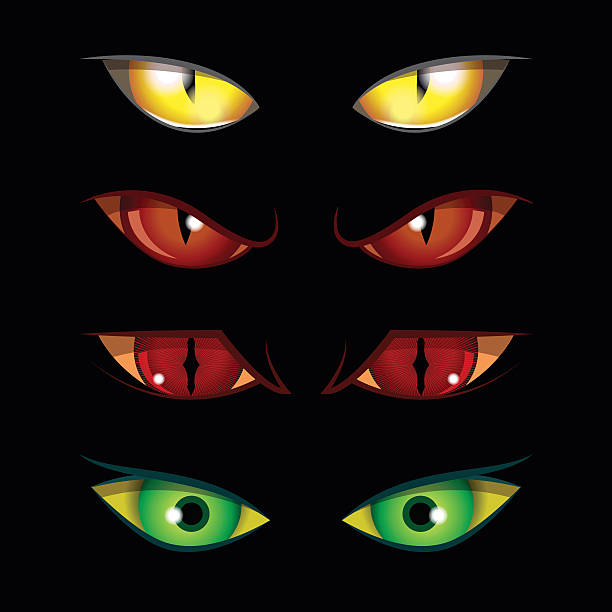 halloween eyes - dragon eye stock illustrations, clip art, cartoons, & icons