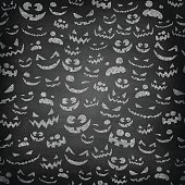 Jack-o'-lanterns with smiling faces and frightening faces on chalkboard.