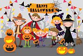 Halloween Family Party,7 cute family people,illustration vector