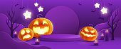 Halloween fantasy purple theme product display podium on paper graphic background with group of 3D illustration Jack O lantern pumpkin and candle light.