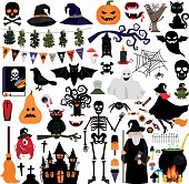 Halloween fashion flat icons