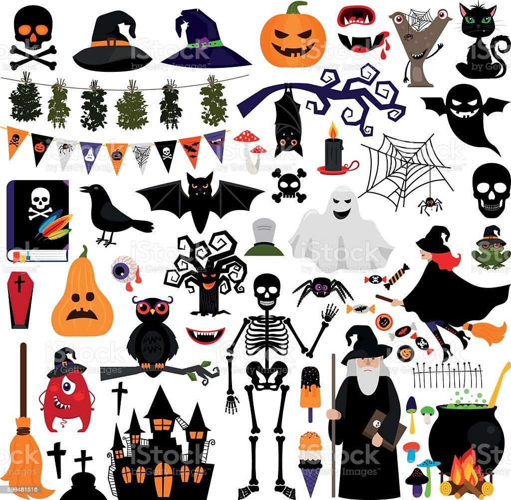 Halloween fashion flat icons vector art illustration