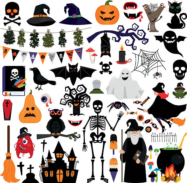halloween fashion flat icons - halloween stock illustrations, clip art, cartoons, & icons