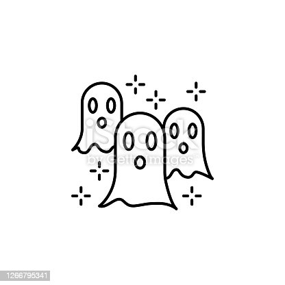 istock Halloween fear ghost horror nightmare paranormal spooky icon. Element of Hallowe 1266795341