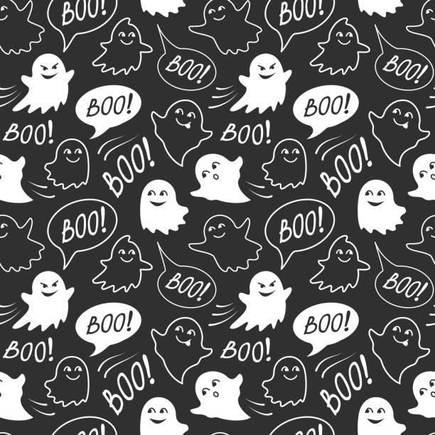 bildbanksillustrationer, clip art samt tecknat material och ikoner med halloween fest sömlösa mönster. svart och vitt oändliga bakgrund med pratbubblan med boo, söt leende och kusliga spöken - spöke
