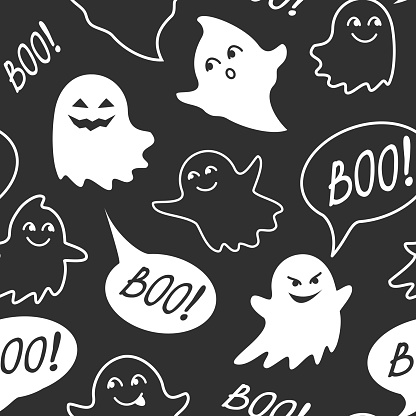 Halloween festive seamless pattern. Black endless background with speech bubble with boo, cute smiling and evil ghosts