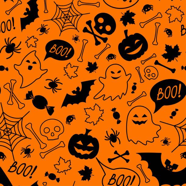 bildbanksillustrationer, clip art samt tecknat material och ikoner med halloween fest sömlösa mönster. orange oändliga bakgrund med pumpor, dödskallar, fladdermöss, spindlar, spöken, skelett, godis, spider web och tal bubbla med boo - halloween background