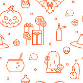 Halloween. Festive seamless pattern. Pumpkin, gifts, candy, hat of a witch, cauldron, magic potion, skull, tombstone. Vector illustration.