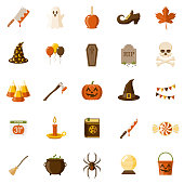 Halloween Flat Design Icon Set
