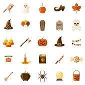 Halloween Flat Design Icon Set