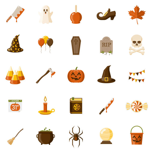 Halloween Flat Design Icon Set A set of 25 Halloween flat design icons on a transparent background. File is built in the CMYK color space for optimal printing. Color swatches are Global for quick and easy color changes. clip art stock illustrations