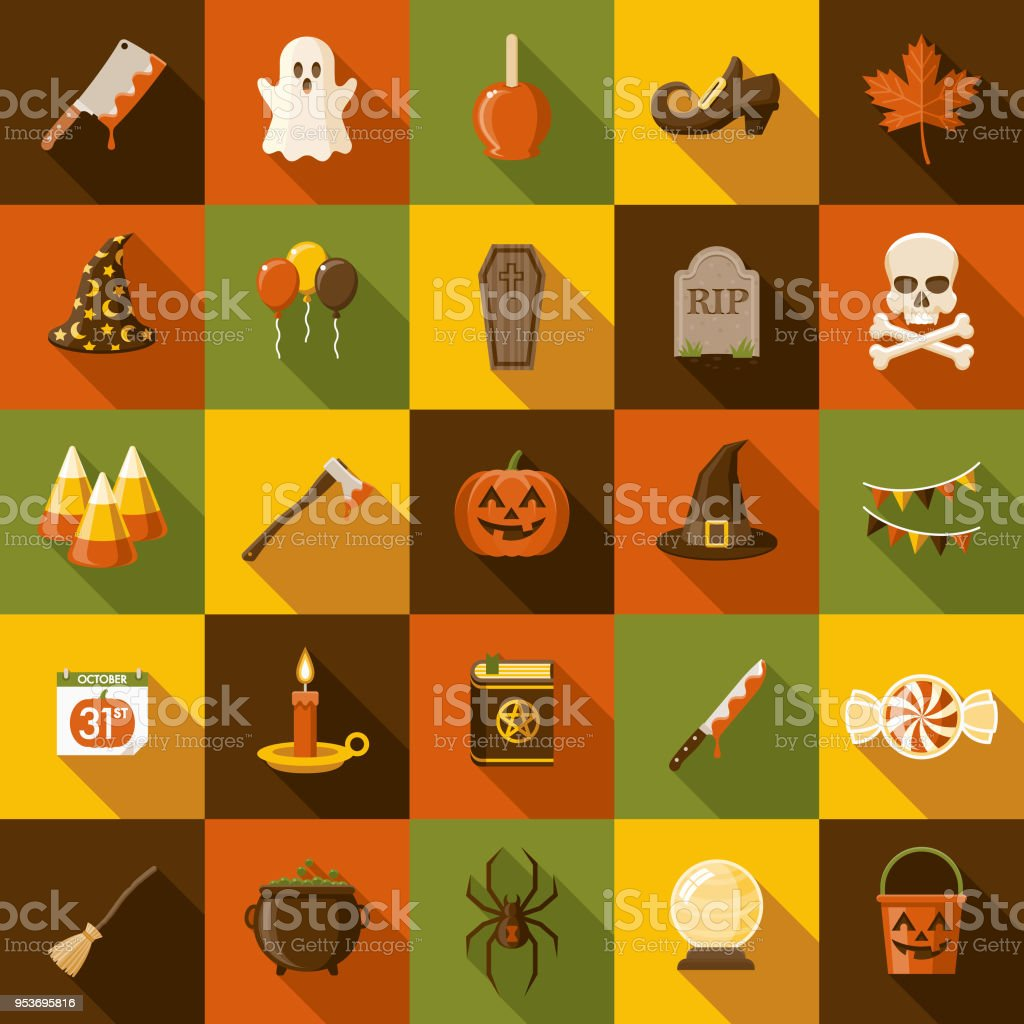 Halloween Flat Design Icon Set with Side Shadow