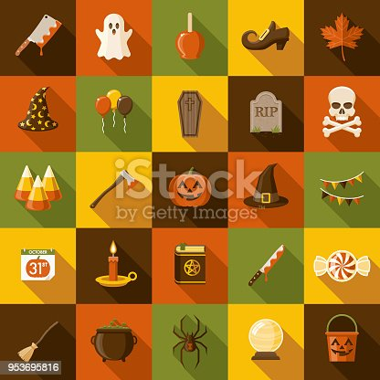 A set of flat design styled Halloween icons with a long side shadow. Color swatches are global so it's easy to edit and change the colors.